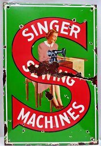VINTAGE SINGER SEWING MACHINE PORCELAIN ENAMEL SIGN LADY RARE COLLECTIBLES RARE