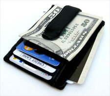 BLACK LEATHER FRONT POCKET MONEY CLIP WINDOW ID THIN Wallet USA Seller