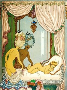 """Nude Woman Slips Into Bed 8.5x11"""" Photo Print Naked Fine Artwork George Barbier"""