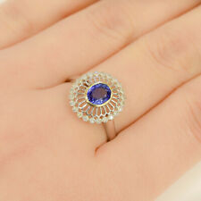 18K Gold Sapphire and Open Diamond Halo Ring