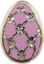 Cook Is 2012 Large Silver Color $5 Russian Faberge Easter Egg- purple