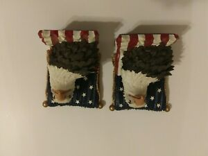 Vintage 1998 Avery Creations Majestic Bald Eagle & The American Flag Bookends-Z