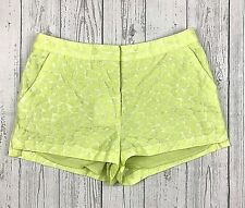 H&M Conscious Collection shorts womens 4 yellow green textured flat front