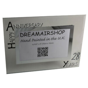 28th Year Anniversary Picture Photo Frame (L) (Black/Silver)