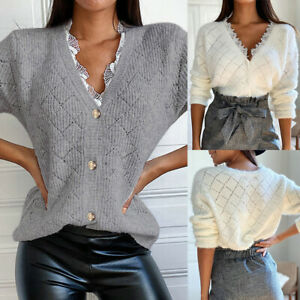 Women Knitted Tops V Neck Sweater Ladies Long Sleeve Jumper Button Cardigan Coat