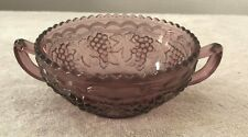 Imperial Glassware Bowl With Handles - Grape Pattern - Purple