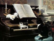 """Kitten learning piano Cats Oil painting Giclee Printed on Canvas 12X16"""" P1251"""