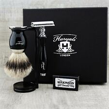 3 Pc Shaving Set with Silver Tip Hair Brush, Safety Razor & Stand Black Coated