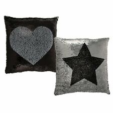 Black and Silver Sequin Cushions with Inner - Heart and Star Sequins