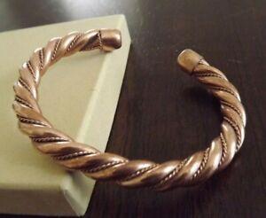 Solid Copper Heavy Twist Cuffed Health Bracelet - Men Women Copper Bracelet