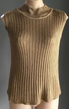 Retro Gold KATIES Sleeveless Ribbed Knit High Neck Top Size 12