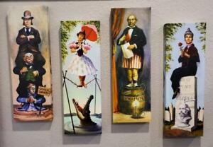 """Haunted Mansion Stretching Portraits Canvas Prints  24"""" x 8"""" 4 Panel"""