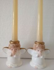 PAIR Of Praying Angels Ceramic Tapered Candle Holders Christmas Decoration