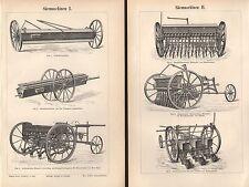 Säemaschinen Drillmaschine Bauer Landwirtschaft Holzstich 1897 Dibbelmaschine