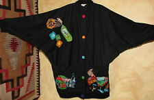 Silkscapes - Art-Wear Painted- PopArt Food Chef Oversize Jacket O/S M L XL 1X 2X