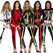 Sexy Women Halloween Cosplay Skeleton Bone Print Costume Bodysuit Jumpsuit Dress