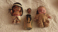 "3 Indian Baby Dolls Chalkware (Japan) 4"" Plastic 4"" Jointed Toys Vintage"