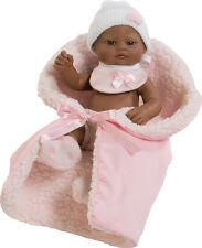 Berbesa - Bebé mini recién nacido negro babero rosa, toquilla   27 cm  (2503NR)