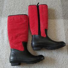 The Original Muck Boot Company- Women's Black Red Tall Rubber Rain Boots 6/6.5