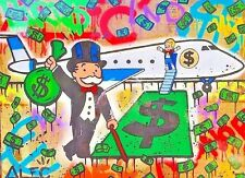"""Alec Monopoly Fairey Oil Painting on Canvas Handcraft No.90 Airplane 28x36"""""""