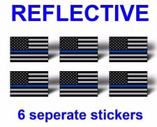 6 Reflective Blue Line American Flag Sticker Car Tag License Plate Helmet Decal