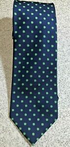 JOHN ASHFORD GREEN DOTS ON BLUE POLYESTER TIE NECKTIE EXECUTIVE BUSINESS SUIT