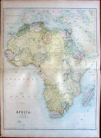 Africa c.1870 A & C Black Bartholomew large old color lithographed map