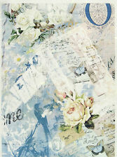 Carta di riso per Decoupage Decopatch Scrapbook Craft sheet Vintage Rose Bianche