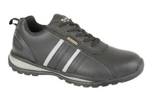 Grafters Mens Safety Shoe Steel Toe Cap Leather Work Trainer Black