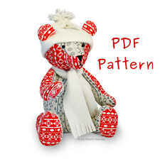 PDF Sewing PATTERN & Tutorial. Jingle Bear, Christmas Teddy, Independent Design