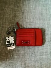 NWT The Sak Leather Iris Scarlet Red Key Chain Wallet