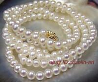 7mm, blanc,Akoya, perles de culture, collier, 88cm