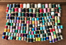 Colorful Lot of 200 Vintage Wooden Spools of Sewing Thread -- Various Sizes