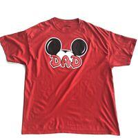 Disney Mickey Mouse Dad Mens Red T-Shirt Disneyland Sz XXL Tee Shirt