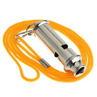 Stainless Steel Emergency Whistlel with Lanyard For Police Bobby Judge Security