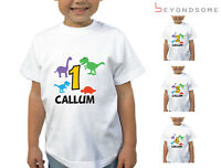 CHILDRENS PERSONALISED BIRTHDAY DINOSAUR T-SHIRT GIRLS BOYS T SHIRT KIDS