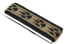 18-20mm Black Brown Paw Print Waterproof Nylon Hook & Loop Watch Band Fits Chums