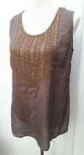 Yarra Trail Ladies Size 12 14 Brown Bead Sequin Embellish Tunic Top Spring Wear
