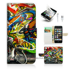 ( For iPhone 5 / 5S / SE ) Wallet Case Cover! Graffiti and Motocycle P0144