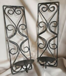 Black Iron Wall Candle Holders Sconce Set of Two (2)