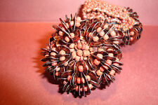 Large Peruvian Handmade,Chunky Beaded Elasticated,Ring~Chocolate~uk seller~