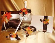 One Fall Flower Girl Basket, 1 Ring Pillow,Guest Book,Pen, 2 garters