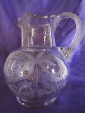 Vintage Etched & Blown Glass Pitcher W. Flowers & Bird
