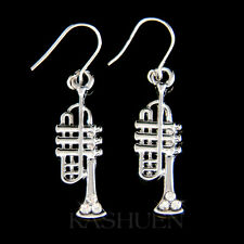 TRUMPET made with Swarovski Crystal Brass Music musical instrument Earrings NEW