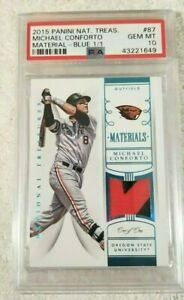 1/1 BLUE PSA 10 2015 NATIONAL TREASURES MICHAEL CONFORTO MATERIALS JERSEY METS