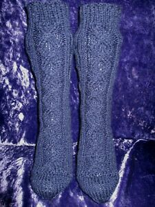 Hand Knitted Ladies aran socks Fully Cabled Midnight Blue 6 25%Wool (6)