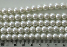 100 x 8mm round white glass pearls, for jewellery making and crafts