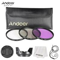 72MM Andoer Photo Filter Kit UV CPL FLD Polarizer Lens Hood for Nikon Canon DSLR