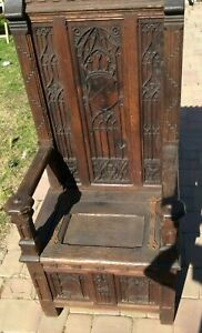 Fine Gothic Bishop's Throne Chair