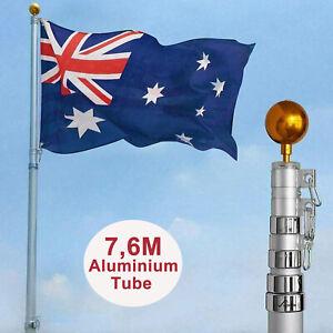 7.6M Aluminum Flag Pole Telescopic Australia Aussie Flagpole Gold Top Ball Kit